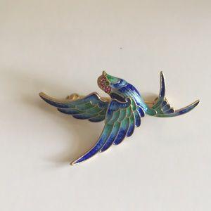 S925 Gold blue bird 🐦 brooch
